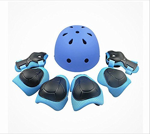 Child Multi-Sport Helmet With Knee Pads Elbow Wrist Protection Set for Skateboard Cycling Skate Scooter (Skateboard Helmets Pads)