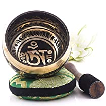 Silent Mind ~ Tibetan Singing Bowl Set ~ Balance and Harmony Design ~ Great For Mindfulness Meditation, Relaxation, Stress & Anxiety Relief, Chakra Healing, Yoga, Zen ~ Perfect Spiritual Gift