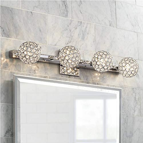 Tiara Crystal Sphere 28 Wide 4-Light Chrome Bath Light – Possini Euro Design