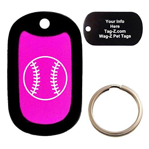Custom Engraved Pet Tag - Baseball - Pink - Dog Tag - Tag-Z Wag-Z (Baseball Silencer Bat)