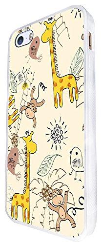 935 - Cool Cute Fun Art Kawaii Art Animal Cartoon Monkey Giraffe Birds Coconut Design iphone SE - 2016 Coque Fashion Trend Case Coque Protection Cover plastique et métal - Blanc