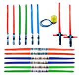 megasumer 14 Premium - Inflatable Light Saber Swords w/ Air Pump, Lightsaber, Party, Gift, Action Play, Blow Up (Multi 14-Pack + Foot Air Pump)