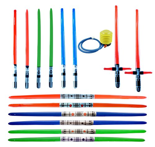 megasumer 14 Premium - Inflatable Light Saber Swords w/ Air Pump, Lightsaber, Party, Gift, Action Play, Blow Up (Multi 14-Pack + Foot Air Pump) by megasumer