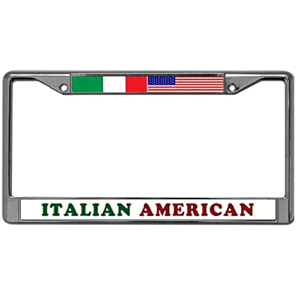 Amazon.com: GND Italian American Metal License Plate Frame Chrome ...