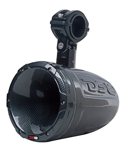 DS18 CF-DT Hydro Black 1.75' Weather Proof Compression Driver Wakeboard Tower Speaker (with Integrated RGB LED Lights - 900 Watts Max - 300 Watts RMS)