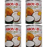 Aroy-D Pure Natural No Additives Coconut Cream - New Creamy Formula (19 fl oz/500ml - 4 Cans)