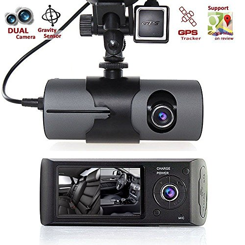 Dual Len Camera, 2.7'' 1080P Car DVR Camera Video Recorder Dash Cam G-Sensor GPS,Front lens with wide angle 140 degrees, back lens 120 degrees,Display Screen,loop-cycle recording,Black (BLACK)