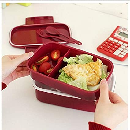 aef5ef29f7ab Amazon.com: Lunch Time Japan style Double Tier Bento Lunch Box Large ...