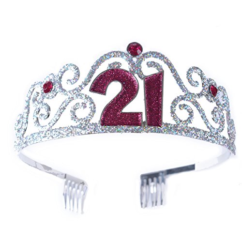 FF 21st Birthday Glitter Metal Tiara for Sweet 21 Party (21st Birthday Tiaras)