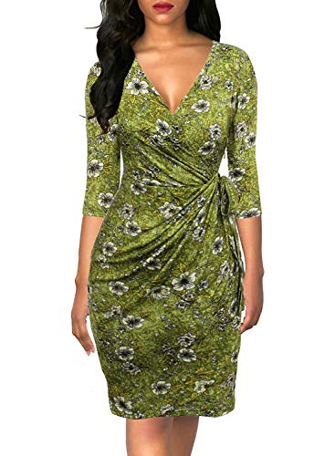 - Berydress Women's Classic 3/4 Sleeve V Neck Sheath Casual Party Work Faux Black Wrap Dress (L, 6083-Grass Floral)