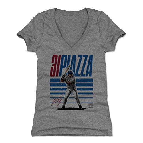 - 500 LEVEL Mike Piazza Women's V-Neck Shirt Small Tri Gray - Vintage New York Baseball Women's Apparel - Mike Piazza Starter B