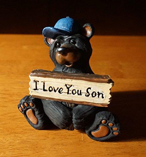 I Love You Son Black Bear Blue Baseball Cap Lodge Cabin Figurine Home Decor