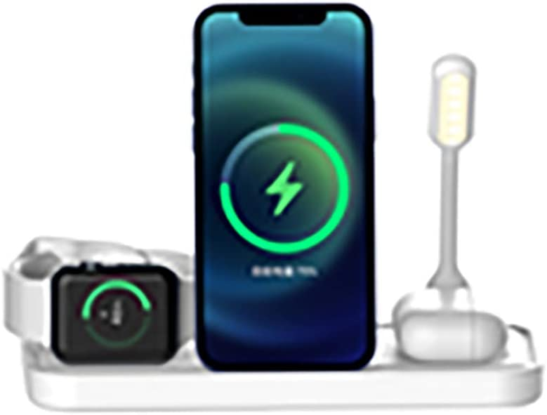 JoiseTech Upgraded 4 in1 Wireless Charging Station + Night Light, Qi-Certified 15W Fast Charging Stand for Apple Watch 5/4/3/2/1, Airpods, Compatible with iPhones & Android Smartphones(White)