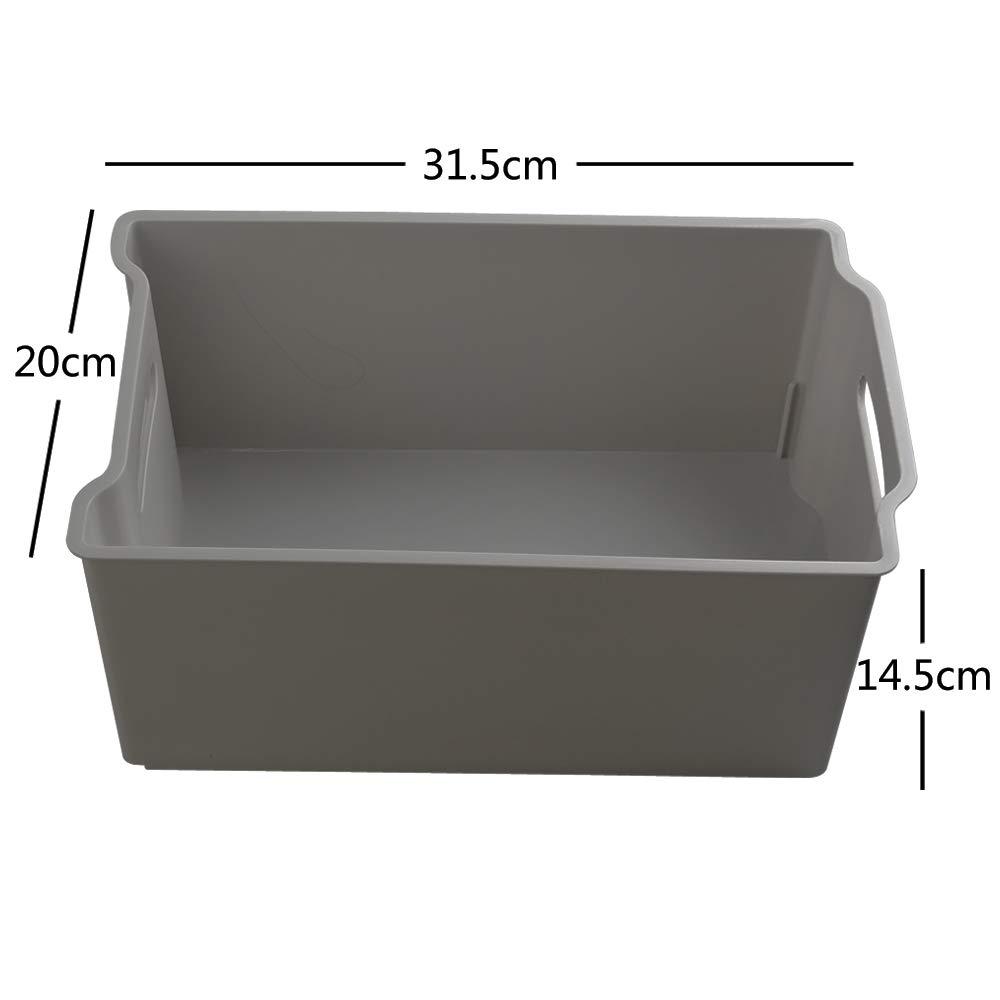 Dynko Gris Caja Almacenaje Pl/ástico sin Tapa Cajas de Plastico Peque/ñas Paquete de 4