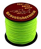 Bravefishermen Super Strong Pe Braided Fishing Line 6LB to100LB Fluorescent Green