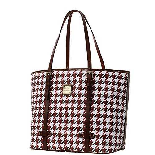 Dooney & Bourke Zip Top East/west Shopper Shoulder Bag Brick Brown/white/red