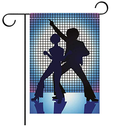 Custom Personalized Garden flag Outdoor flag 70s Party Decorations Couple Silhouettes on the Dance Floor Night Life Oldies Fun Blue Decorative Deck, patio, Porch, Balcony Backyard, Garden or -
