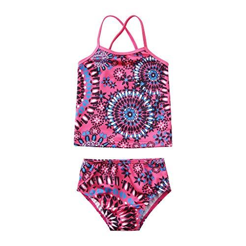 ❤️ Mealeaf ❤️ Kids Baby Girls Beach Sport 2-Piece Banded Tankini Swimsuit Swimwear Bikini Set(12M-5Y)