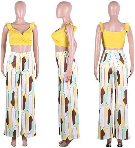 Deep V Neck Sleeveless Crop Top Boho High Waist Wide Leg Pants Set Jumpsuits ECHOINE Women s 2 Pieces Outfits