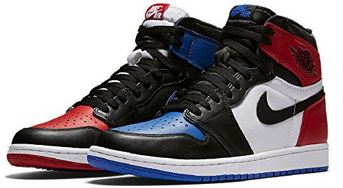 Nike Air Jordan 1 Retro High Top 3 Pick OG BG LTD Sneaker Current Collection black / white / blue / red