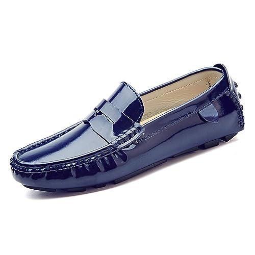 SRY-Zapatos de Moda Mocasines cómodos de los Hombres Mocasines Transpirables y cómodos de Charol para Barco de Charol: Amazon.es: Zapatos y complementos