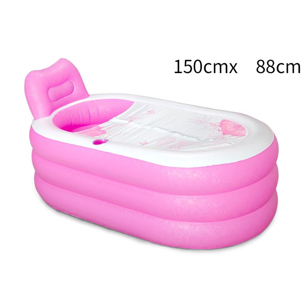 HWZDYZW Foldable Inflatable Thick Warm Adults Bathtub, Spa Bathtub Massage Quality Tub Soaking Baths Inflatable Pools (Color : Pink, Size : L) by HWZDYZW