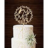 Rustic Wreath Mr and Mrs Dog Personalized Date Wedding Cake Toppers Bridal Shower Gifts