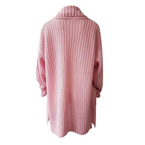 longues Cardigan Femme Revers Rose Taille Ample Décontracté Manteau Hiver Tricoté Grande Petalum Veste Mi qHYUwA