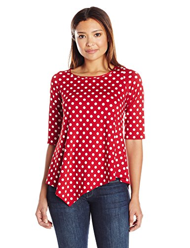 Star Vixen Women's Plus Size Short Sleeve Stretch Ity Knit Top with Keyhole Cutout Back and Shirttail Hem, Red/White Dot, 3X (White Dot Multi)