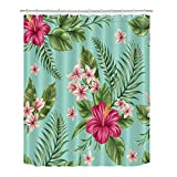 LB Hawaiian Tropical Leaves Flowers Decor Shower Curtain for Bathroom, Hibiscus Plumeria Areca Palm Floral Theme, Mold Free Water Repellant Non Toxic Decor Curtain, 70 x 70 Inch