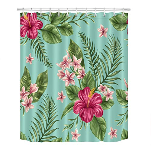 LB Hawaiian Tropical Leaves Flowers Decor Shower Curtain for Bathroom, Hibiscus Plumeria Areca Palm Floral Theme, Water Repellant Non Toxic Decor Curtain, 70 x 70 Inch]()