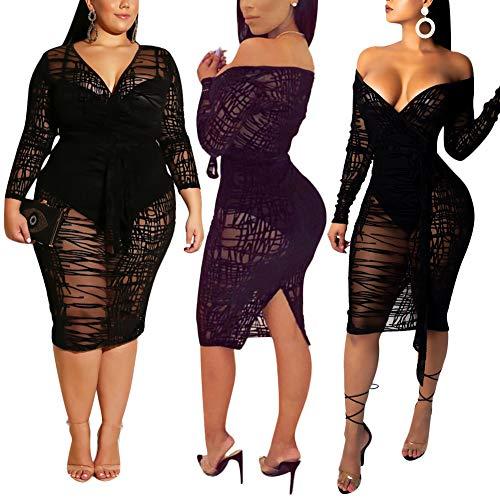 ECHOINE Women's Sexy Off Shoulder Bodysuit Mesh See Through Long Sleeve Sheer Overlay Club Midi Dress Black M