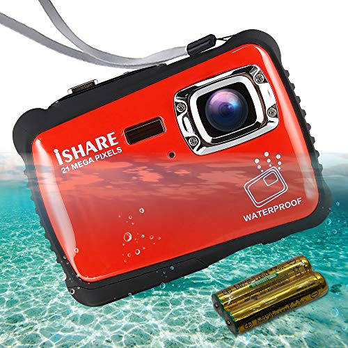 "ISHARE Waterproof Kids Camera, 21MP HD Underwater Digital Camera for Kids with 2.0"" LCD, 8X Digital Zoom, Flash and Mic for Girls/Boys (RED)......"