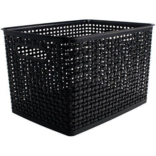(ADVANTUS CORPORATION Weave Design Plastic Bin Large, Black, 13.75
