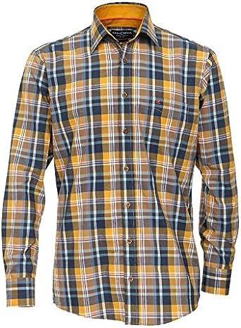 Casa Moda Camisa de Manga Larga Oversize Azul-Maíz Amarillo-Rojo Cheque, 2xl-8xl:7XL: Amazon.es: Ropa y accesorios