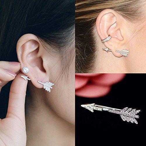 Creative 1PC Bow Arrow Crystal Ear
