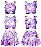 US TOP Galaxy Print Crop Tank Top/Pleated Skater Skirts Set Print Skater Dress