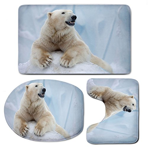 3 Piece Bath Mat Rug Set,Zoo,Bathroom Non-Slip Floor Mat,Portrait-of-Large-White-Polar-Bear-on-Ice-Claws-Antarctica-North-Outdoors-Decorative,Pedestal Rug + Lid Toilet Cover + Bath Mat,Light-Blue-Crea by iPrint