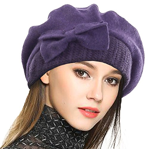 VECRY Lady French Beret 100% Wool Beret Floral Dress Beanie Winter Hat (Bow-Purple) ()