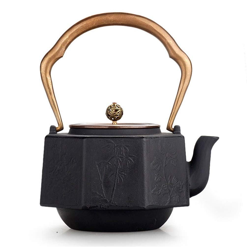 FJH Cast Iron Teapot,Uncoated Vintage Japanese Style Craft Iron Handmade Cast Iron Tea Kettle 1.2L (Color : A)