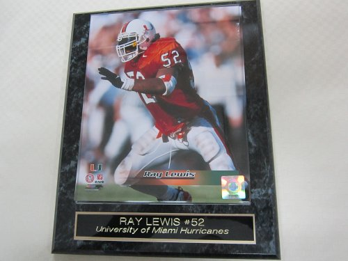 (Ray Lewis University of Miami Engraved Collector Plaque w/8x10 Photo)