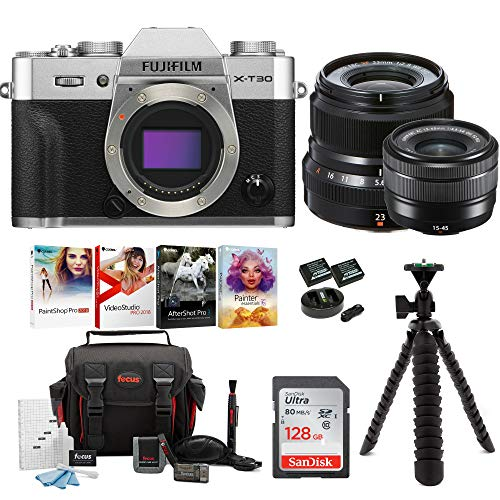 Fujifilm X-T30 Mirrorless Camera Body (Silver) w/15-45 & XF23mm F2 Dual Lens Accessory Bundle + Sandisk 128GB Ultra UHS-I + 2 NP-W126 & Dual Charger +Tripod + Deluxe Photo Software