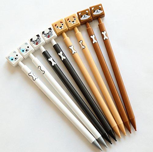 GANSSIA Dog Series Design 0.7mm Mechanical Pencils Pack of 8 Pcs (Pen Writing Dog)