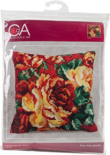 Collection D'Art Stamped Needlepoint Cushion Kit 40X40cm-Rose Chou Gauche by RTO
