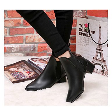 Wsx & Plm Womens-tobillo Boots-leisure Office Y Trabajo Formal Casual Evening Y Party-other-low-leather-black Red, Us8 / Eu39 / Uk6 / Cn39