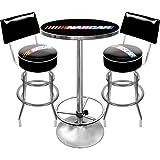 NASCAR Ultimate Gameroom Combo - 2 taburetes de bar con respaldo y mesa de bar