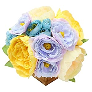Jasming Silk Flowers Artificial Peony Bouquet Fake Leaves for Wedding Decor Bridesmaid Flower 24