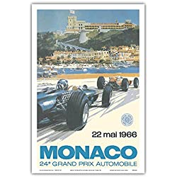 24th Monaco Car Racing GP) - 22. Mai 1966 (May 22nd 1966) - Circuit de Monaco, Monte Carlo - Formula One - Vintage Advertising Poster by Michael Turner 1966 - Master Art Print - 12in x 18in
