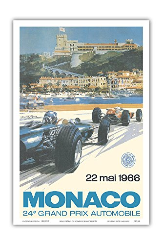 Racing Vintage Car (24th Monaco Car Racing GP) - 22. Mai 1966 (May 22nd 1966) - Circuit de Monaco, Monte Carlo - Formula One - Vintage Advertising Poster by Michael Turner 1966 - Master Art Print - 12in x 18in)