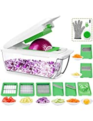 CHUGOD Vegetable Chopper Mandoline Slicer Dicer, Newly Improved Onion Cutter Heavy Duty All in One Fruit Cuber Multi Blades Kitchen Food Cheese Grater Egg Separater (Dark Green)